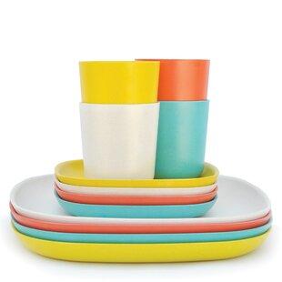 Dorinda 12 Piece Solid Color Dinnerware Set