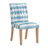 Cotton Upholstered Parsons Chair in Blue/White by Dakota Fields