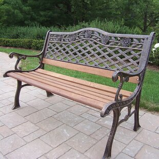 Tea Rose Wood and Cast Iron Park Bench