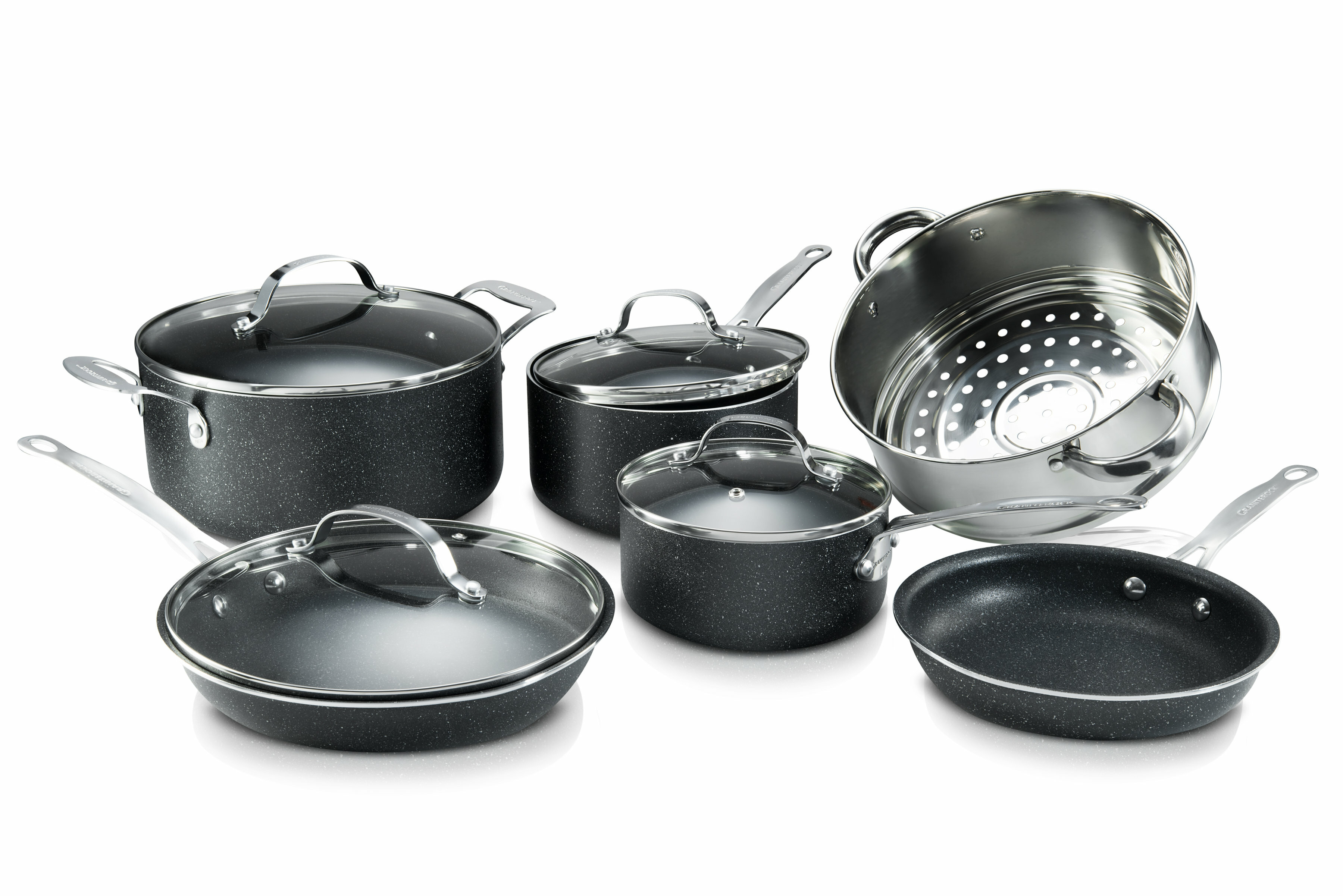 Granite Stone 10 Piece Aluminum Non Stick Triple Coating Speckled Pots And Pans Cookware Set With Mineral Diamond Infused Technology