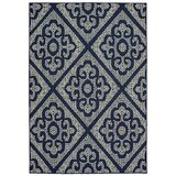 Salerno Floral Scroll Lattice Navy/Ivory Indoor/Outdoor Area Rug byCharlton Home