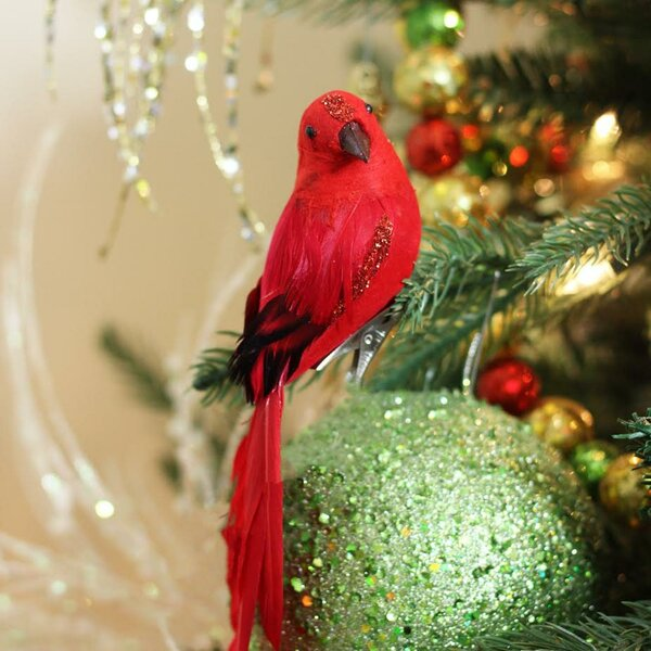 the holiday aisle long tailed clip on bird christmas ornament accessory with glitter accent reviews wayfair - Red Cardinal Christmas Decorations