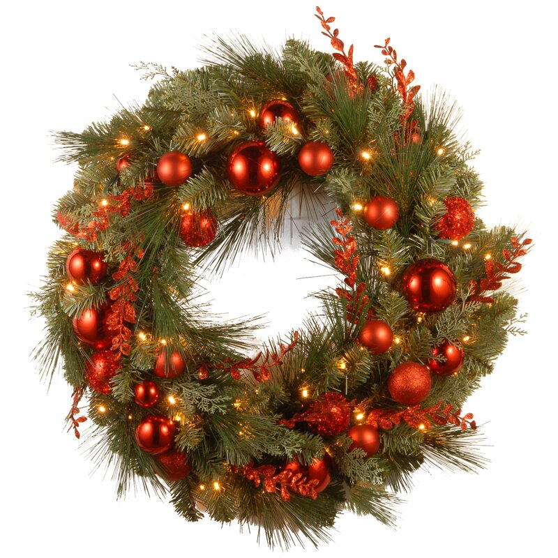 pre lit christmas mixed wreaths with battery operated white led lights - Battery Operated Christmas Wreaths