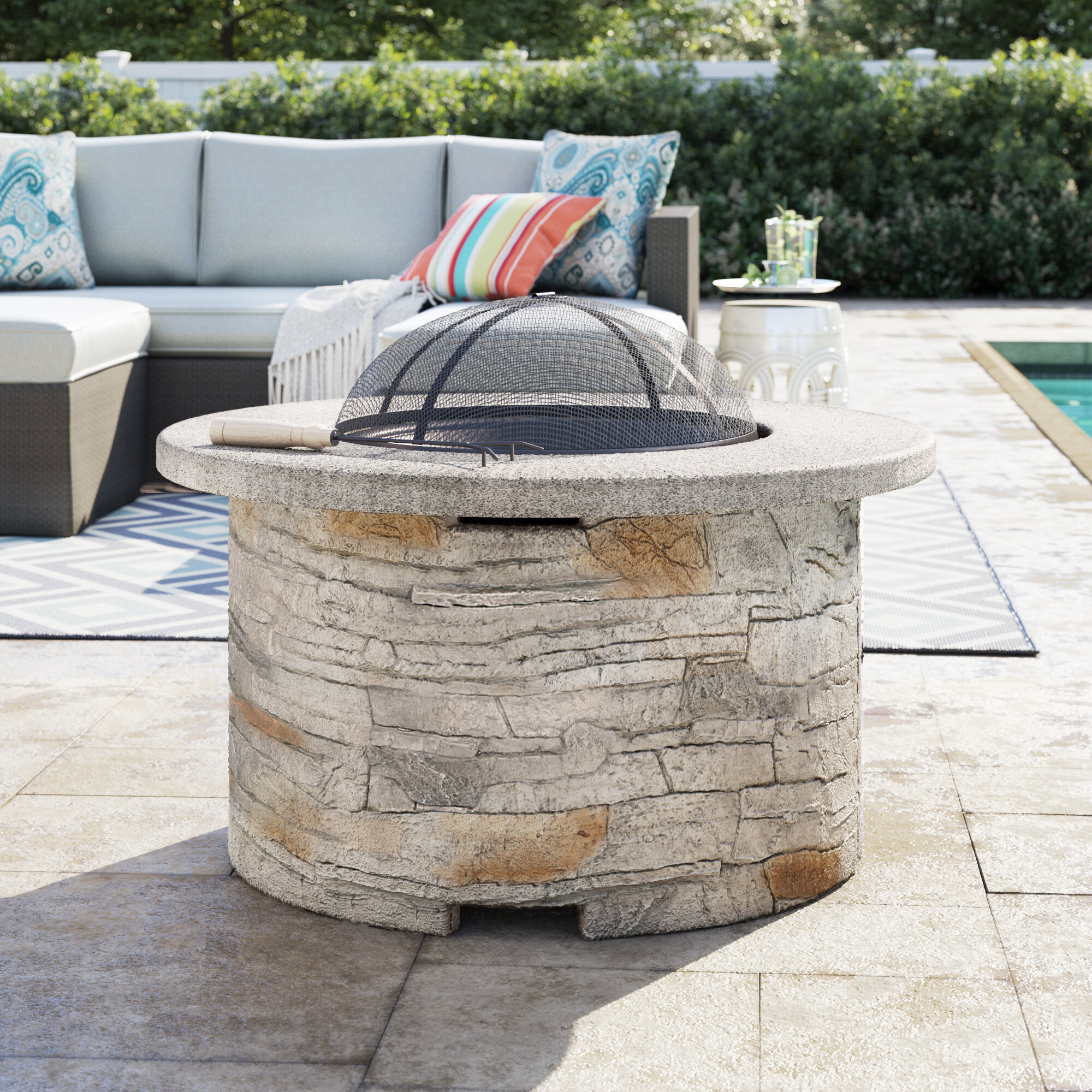 Sol 72 Outdoor Braselton Faux Stone Wood Burning Fire Pit ...