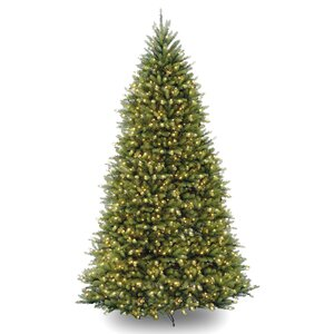 Fir 10′ Hinged Green Artificial Christmas Tree with 1200 Clear Lights