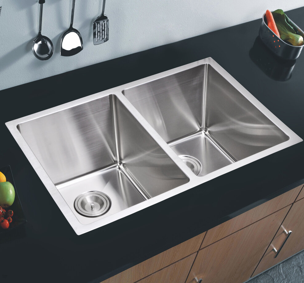 50 Stainless Steel 31 L X 18 W Double Basin Undermount Kitchen Sink With Coved Corner