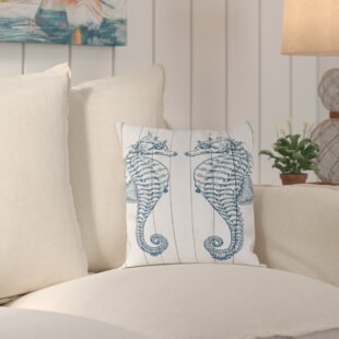 Stabler Double Seahorse Wood Outdoor Throw Pillow By Beachcrest Home