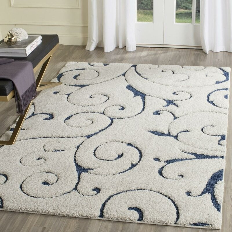 Super Three Posts Alison Cream/Navy Blue Area Rug & Reviews | Wayfair NQ04