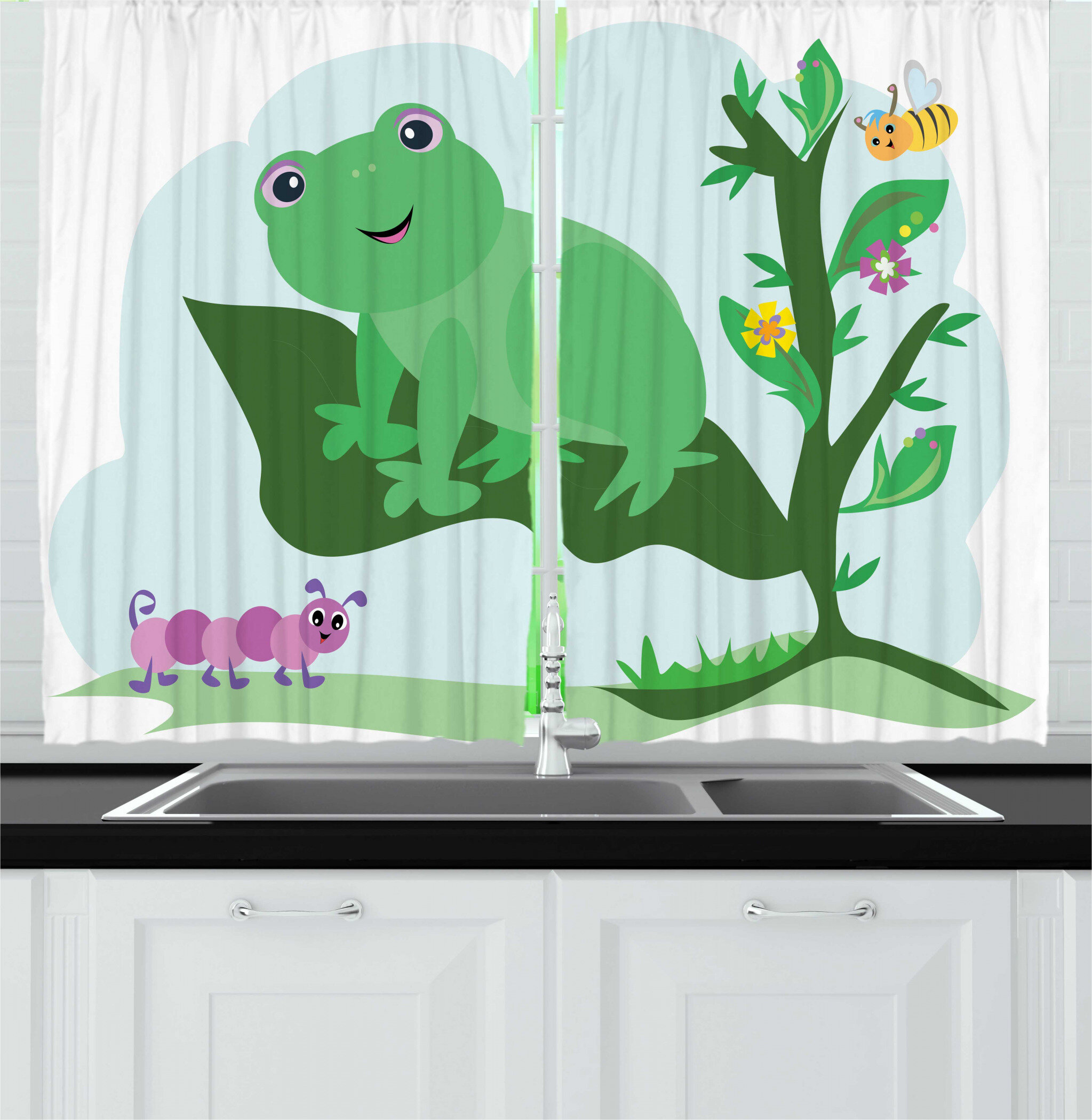 East Urban Home 2 Piece Frogs Childish Scene Animal On Big Leaf Caterpillar And Bee Cartoon Kitchen Curtain Set Wayfair