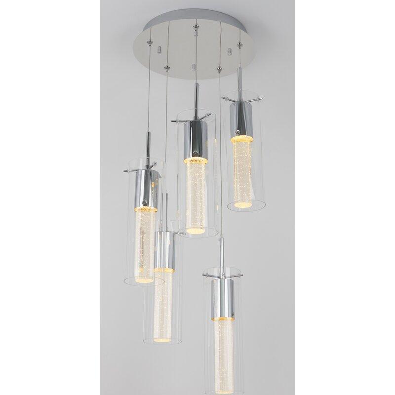 Orren Ellis Zachery 5 Light Cluster Cylinder Led Pendant Reviews Wayfair