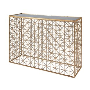 Worlds Away Crosshatch Console Table