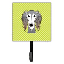 Checkerboard Saluki Leash Holder and Wall Hook by Caroline's Treasures