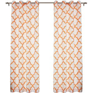 Brianna Moroccan Print Semi Opaque Grommet Top Curtain Panel Pair (Set Of 2)