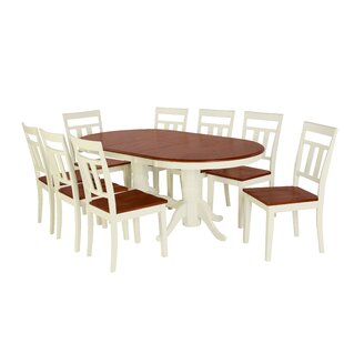 Alvy 9 Piece Solid Wood Dining Set August Grove