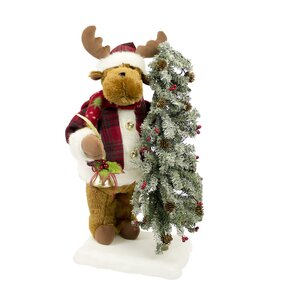 Animated Musical Reindeer with Lighted Tree on Base
