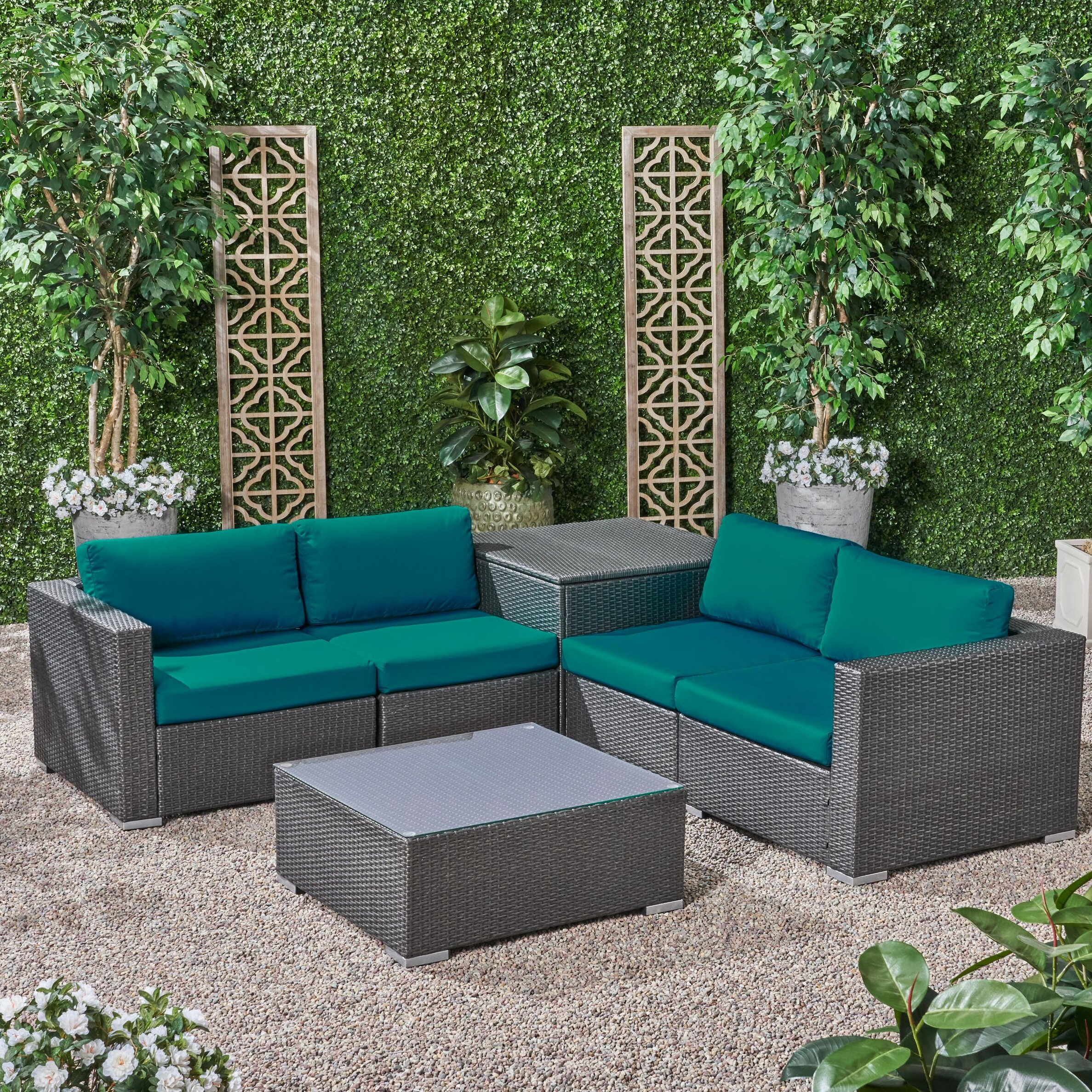 Pleasing Roxann Outdoor 4 Seater Wicker Sofa Set With Storage Ottoman And Sunbrella Cushions Ocoug Best Dining Table And Chair Ideas Images Ocougorg