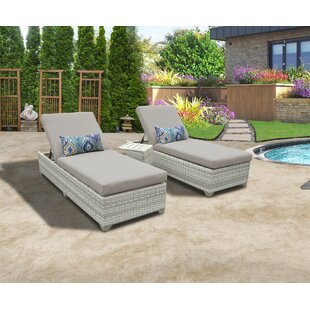 Fairmont Reclining Sun Lounger Set with Table (Set of 2)