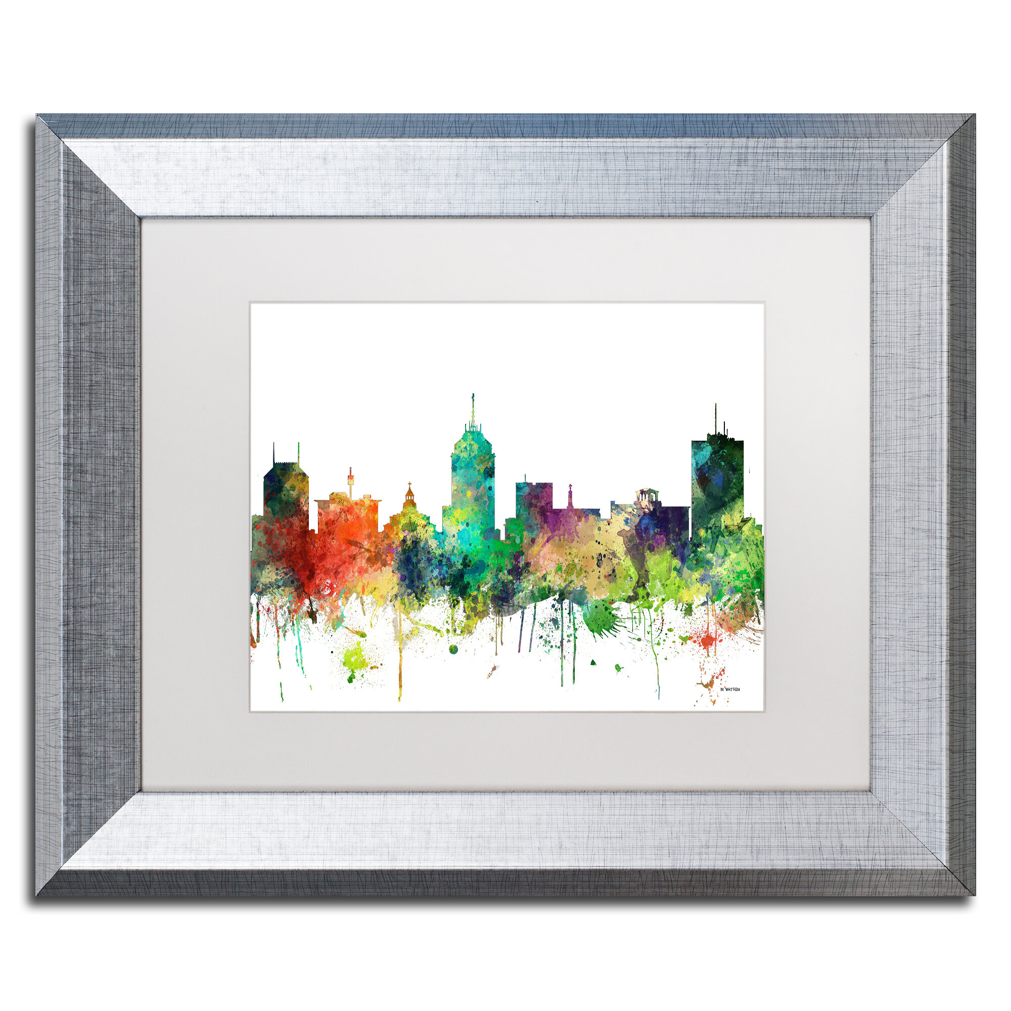 Trademark Art Fresno California Skyline Sp Framed Graphic Art On Canvas Wayfair