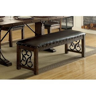 Fleur De Lis Living Barrview Traditional Wood and Faux Leather Bench