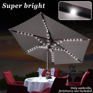 Sunrise Outdoor LTD Patio Solar Powered LED Light Poolside Crank Tilt Garden Market Umbrella