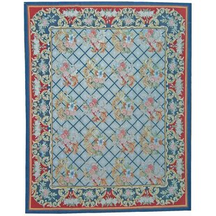 One Of A Kind Aubusson Hand Woven Wool Navy Red Area Rug