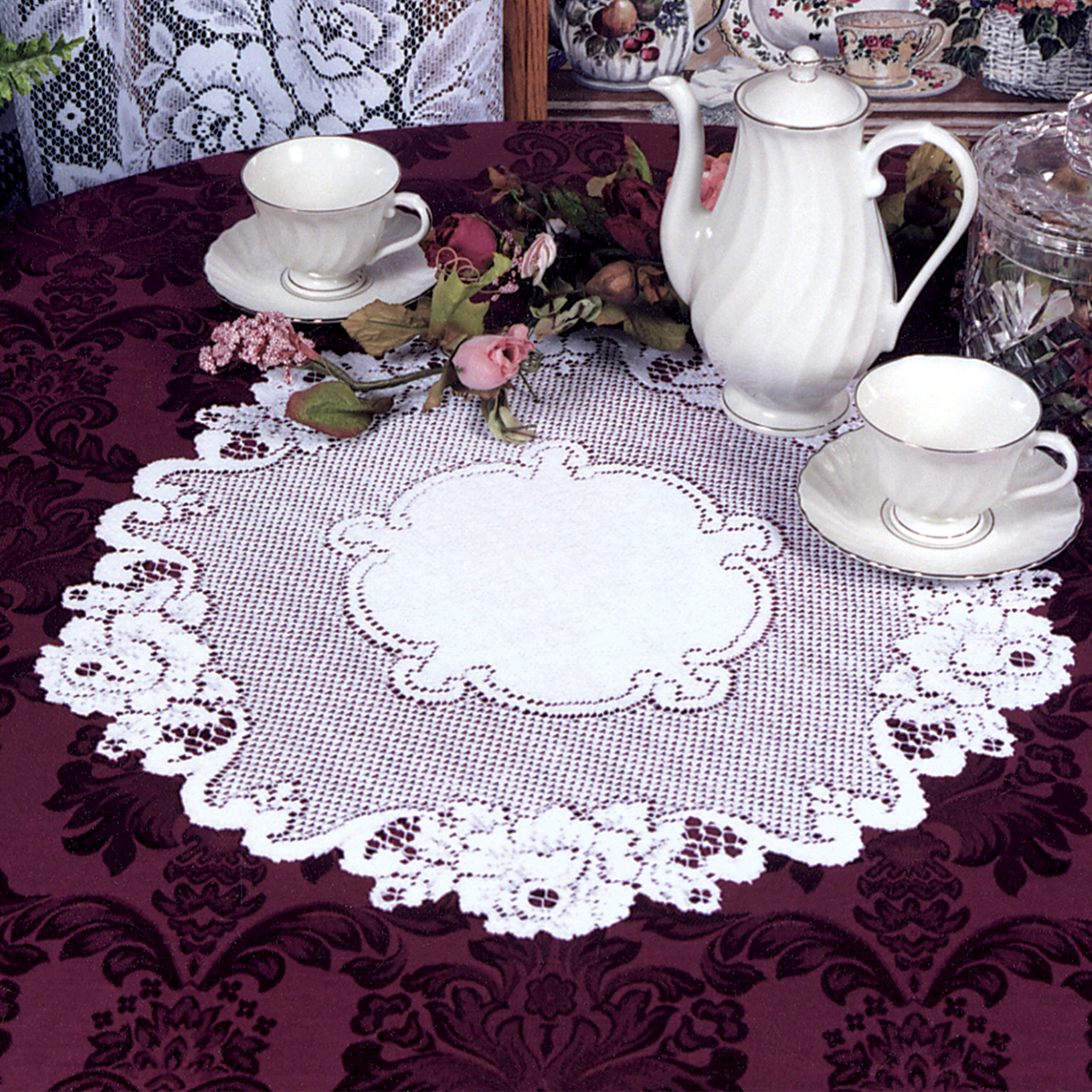 """Ecru and Off White. Heritage Lace Rose pattern 12/"""" Round  Doily"""