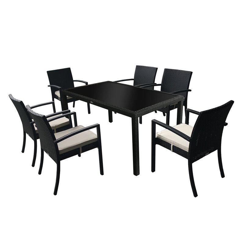Audubon Outdoor Rattan 7 Piece Dining Set