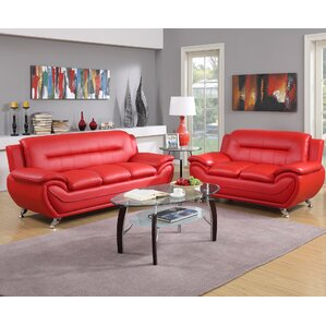 Hawking 2 Piece Living Room Set. Black Gray Red