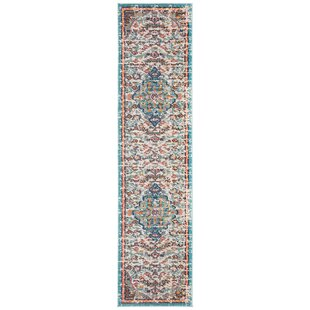 Grieve Gray/Light Blue/Orange Area Rug by Bungalow Rose