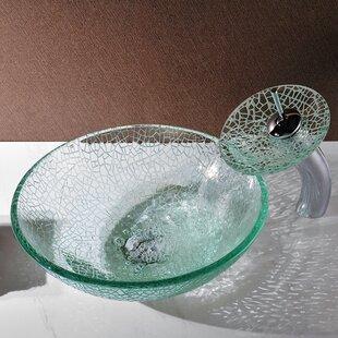ANZZI Choir Glass Circular Vessel Bathroom Sink with Faucet