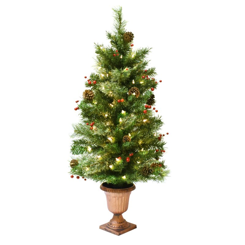 35 green artificial christmas tree with lights and urn stand - Artificial Christmas Trees With Lights
