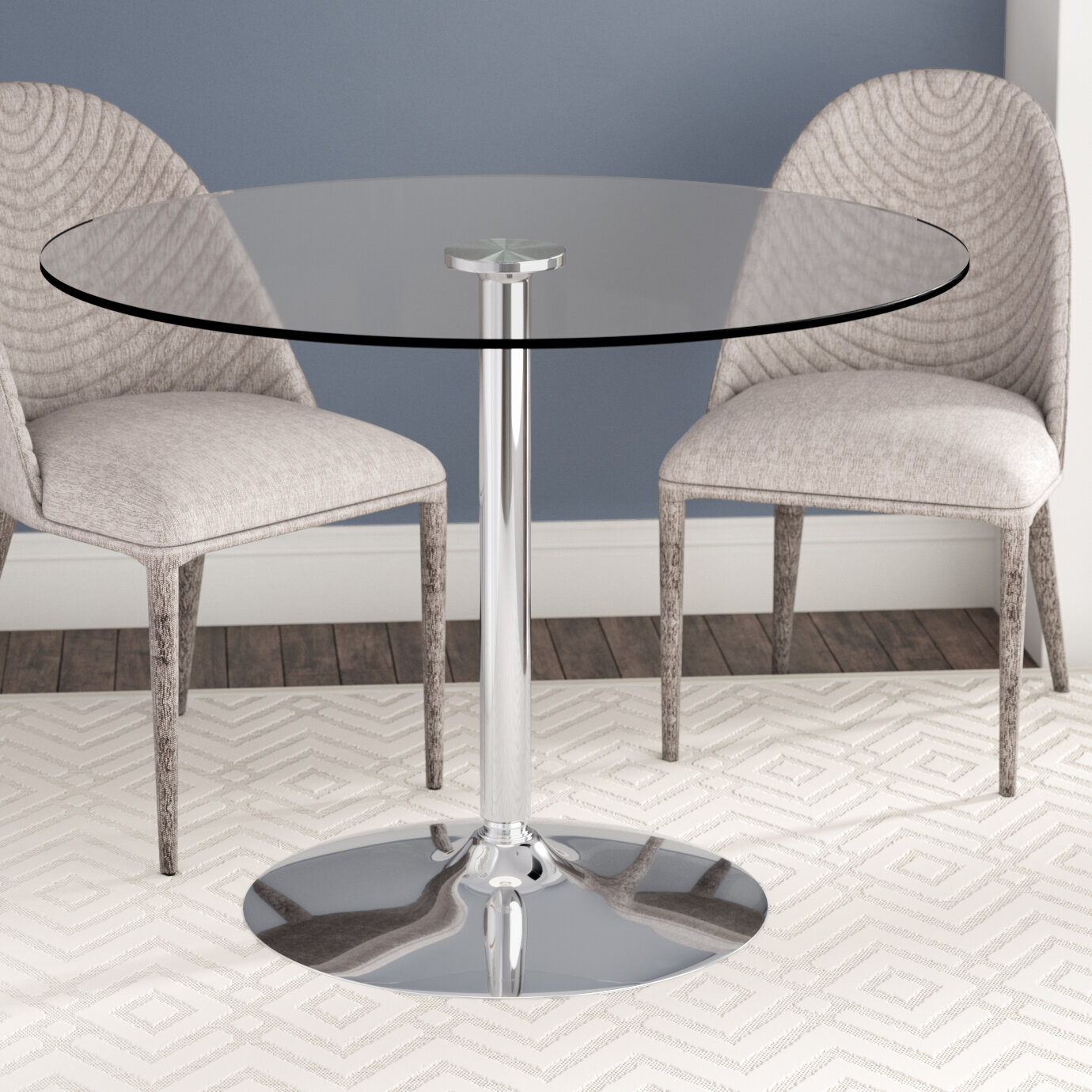 Wade Logan Cavell Round Glass Dining Table U0026 Reviews | Wayfair