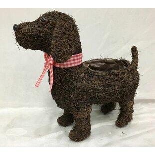 Ewald Standing Dog Rattan Statue Planter Image