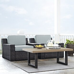 Beachcrest Home Linwood 3 Piece Rattan Conversation Set with Cushions