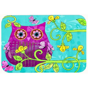 Sittin In The Flowers Owl Kitchen Bath Mat