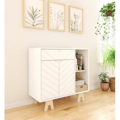 """Wrought Studio Owain 35.75"""" Wide 1 Drawer Sideboard  Color: White/Birch"""