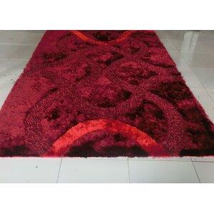 Reshmi Stain Resistant Burgundy Area Rug
