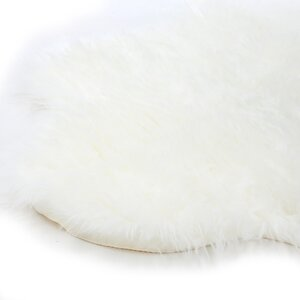 Jerod Polar Bear Pelt Faux Fur White Area Rug
