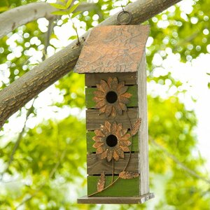 Wooden Flower 14.5 in x 5 in x 5 in Birdhouse