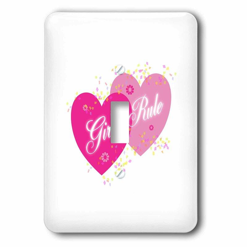 3drose Two Hearts Girls Rule 1 Gang Toggle Light Switch Wall Plate Wayfair