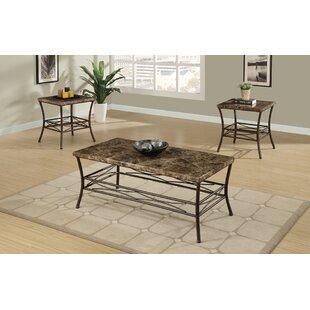 Fleur De Lis Living Canisteo Faux Marble Top 3 Piece Coffee Table Set