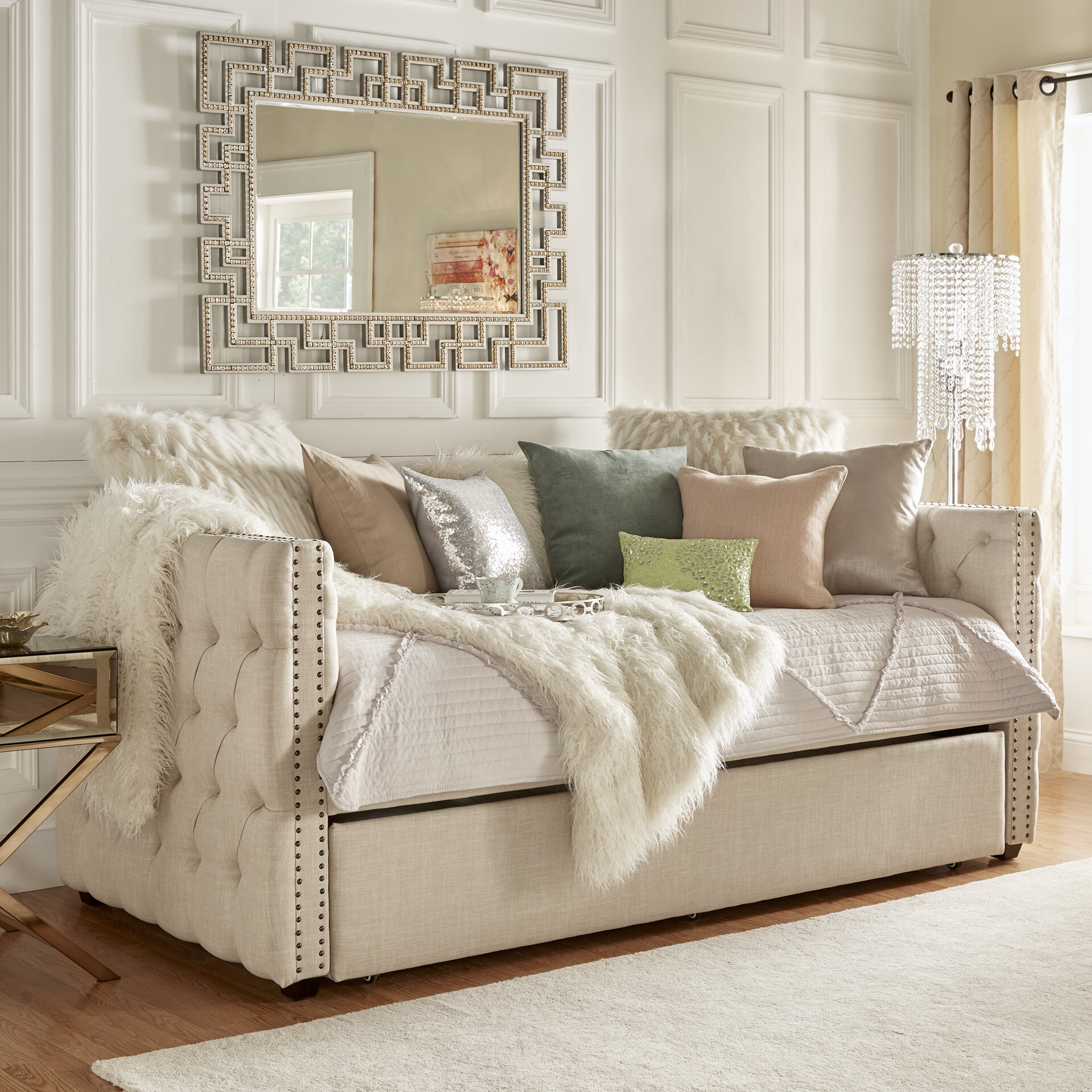 - Three Posts Scribner Button Tufted Full Daybed With Trundle