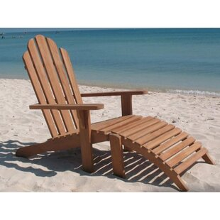 Highland Dunes Gassett Teak Lightweight Adirondack Chair with Ottoman