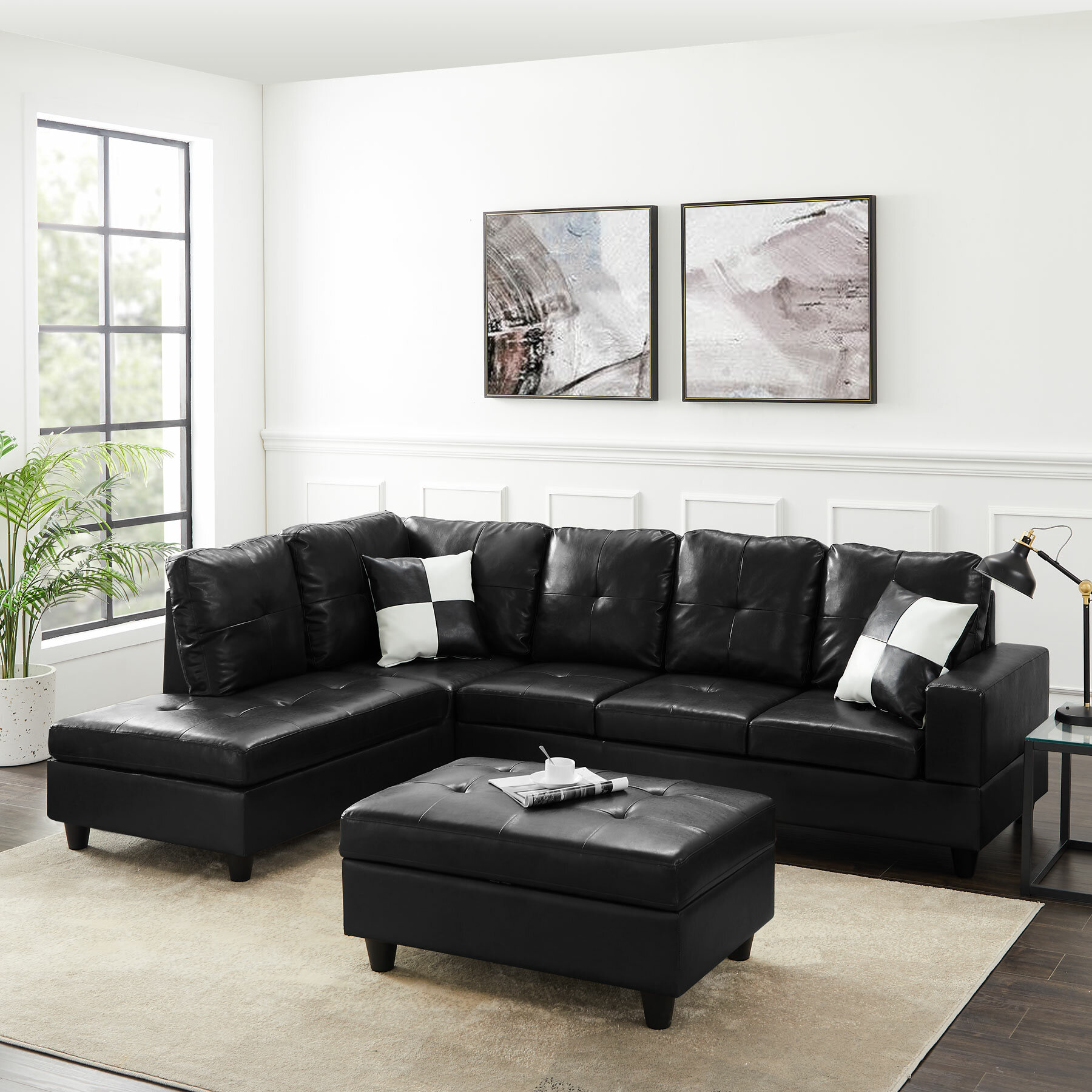 Latitude Run Modern Large Pu Sectional Sofa L Shape Couch With 2 Throw Pillows For Living Room Black Brown Right Hand Facing Wayfair Ca