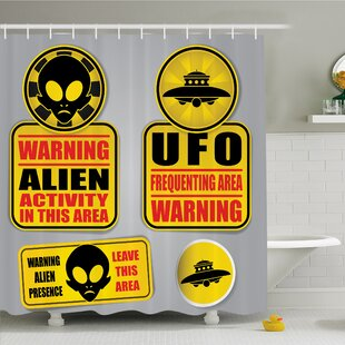 Outer Space Warning Alien UFO Sign Face of Martian Creature Danger Horror Print Shower Curtain Set