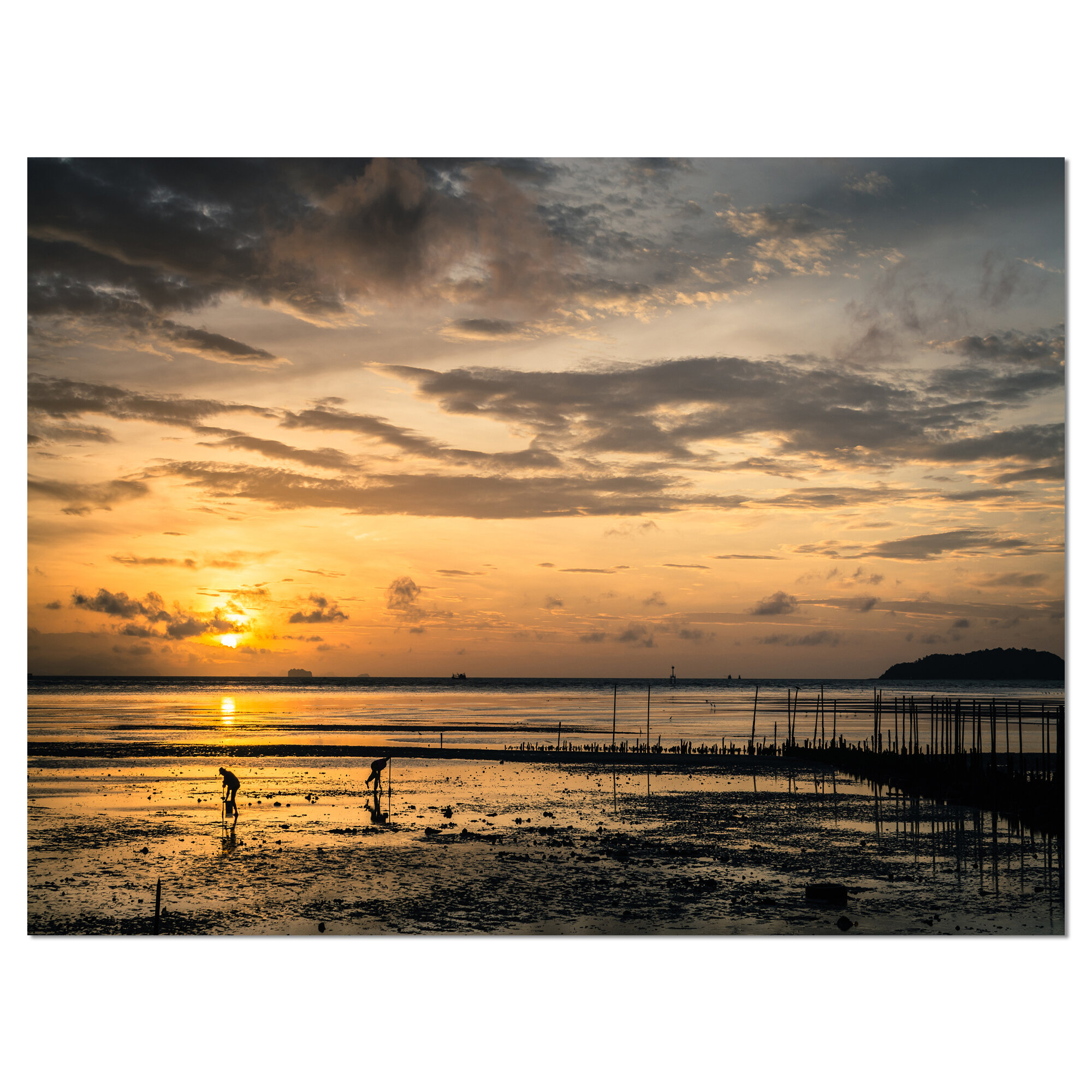 Designart Dawn At Seaside During Low Tide Photographic Print On Wrapped Canvas Wayfair