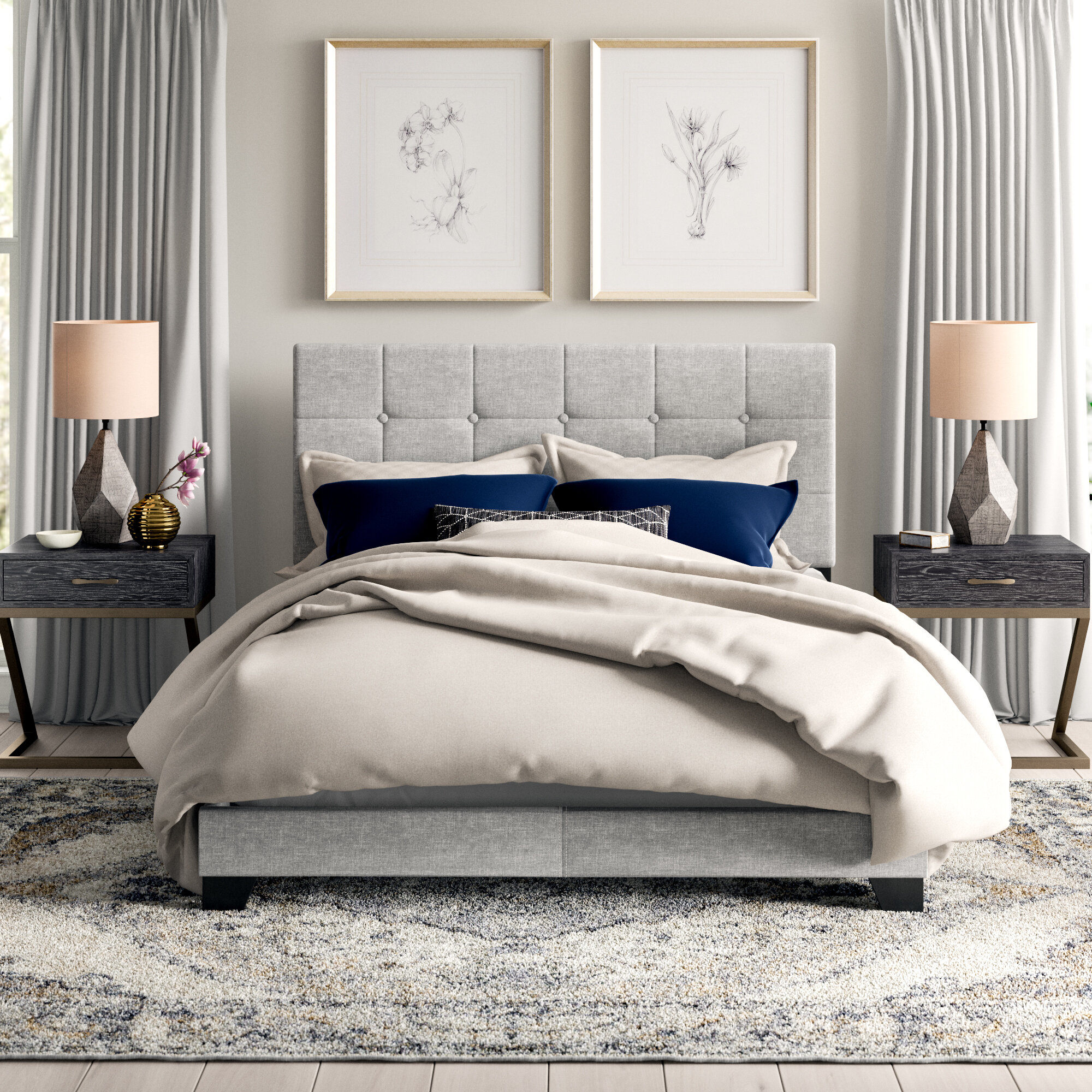 Stanley Tufted Upholstered Standard Bed Reviews