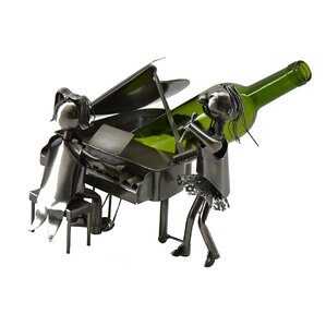 Jamel Piano Pianist and Singer Duo Performing Metal 1 Bottle Tabletop Wine Holder by Latitude Run