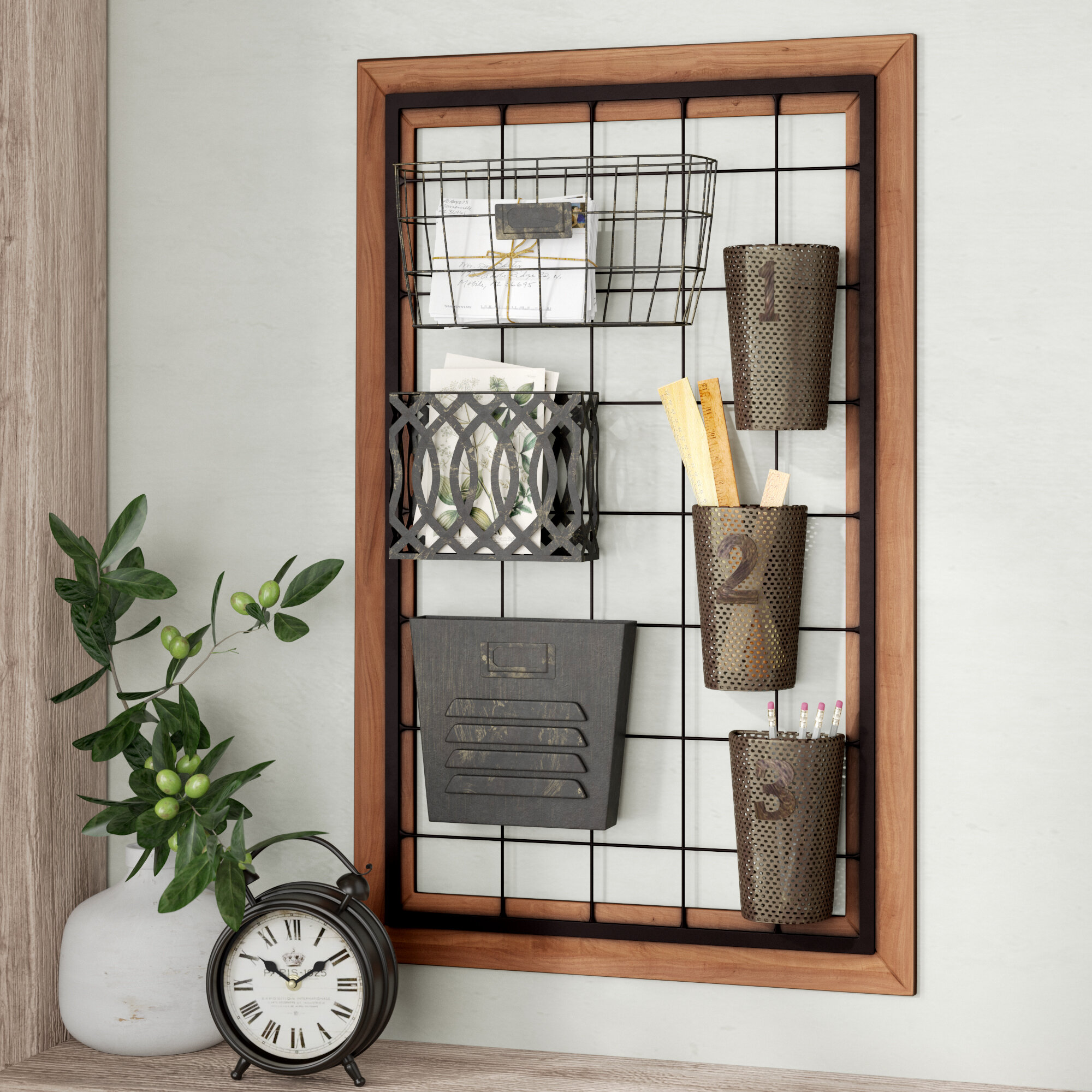August Grove Yair Wall Storage Organizer With Wall Baskets Reviews Wayfair