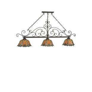 Meyda Tiffany Duffner Kimberly Shell and Diamond 3-Light Pool Table Lights Pendant